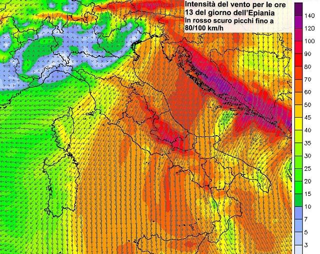 Previsione vento 6 gennaio 2017